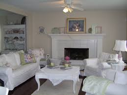 living room interior shabby chic white wooden fireplace mantel