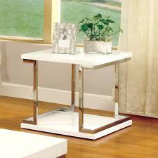 furniture of america lolie white gloss end table by furniture of