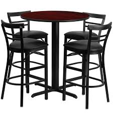 metal bar table set 24 round mahogany laminate table set with 4 ladder back metal bar