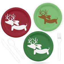 christmas plates reindeer dachshund christmas paper plates the smoothe store