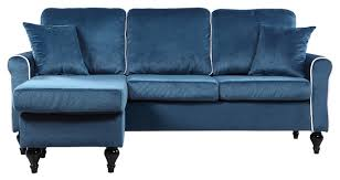 Eggplant Sectional Sofa Traditional Small Space Velvet Sectional Sofa With Reversible