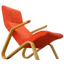 Orange Chair by Eero Saarinen For Knoll International 1946 Grasshopper Lounge