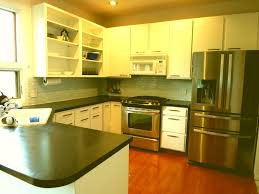 Painted Kitchen Cabinets Before And After Photos by Painting Melamine Kitchen Cabinets Before And After Home Design