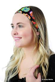 fabric headband multicolor sugar skulls black day of the dead fabric