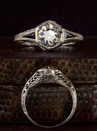 filigree engagement rings 1920s art deco hexagonal filigree engagement ring 0 95ct old