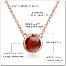 fine chain pendant necklace images Natural round orange red garnet rose gold chain pendant necklace jpg