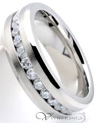 7mm ring 7mm men s stainless steel 316l beveled edges cz eternity ring