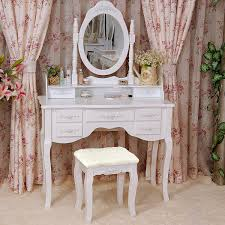 Dressing Table Set Tribesigns Wood Makeup Vanity Table Set With Mirror And Stool