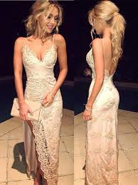 2017 beach wedding dresses with high side slit lace sheath