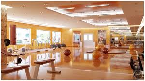 natural large gym interior design photos that has wooden floor