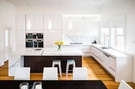 Stone Island Kitchen Modern Kitchen Timber Floor Stone Island Bench White