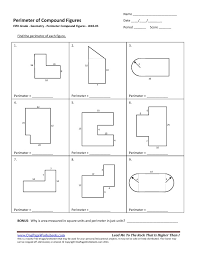 fifth grade perimeter compound figures worksheet 05 u2013 one page