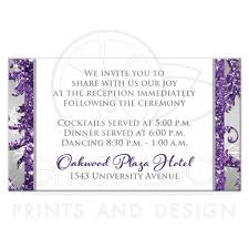 Wedding Invitations And Reception Cards Winter Wonderland Wedding Reception Card Purple Silver White