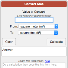 Meters To Feet Squared Area Conversion Calculator