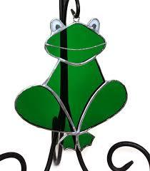 stained glass frog suncatcher green glass frog handmade