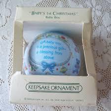 baby u0027s first christmas hallmark 1982 satin ball baby boy