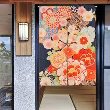 japanische k che japanische rote blume mond tür vorhang leinen tapisserie studieren