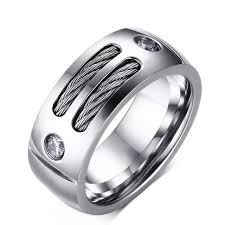 unique metal rings images Stainless steel mens twisted classic cable rings with cz stones jpg