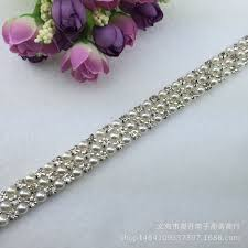 online get cheap 3 row rhinestone trim aliexpress alibaba group 1 yard 3 row plastic pearl rhinestone crystal silver applique trims sewing on applique for wedding