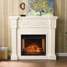 dunkirk 44 5 in w carved infrared electric fireplace in ivory