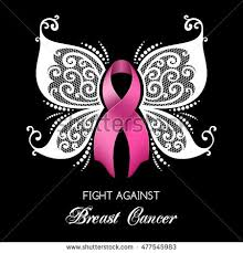 breast cancer awareness pink ribbon butterfly stock vector
