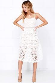 white lace dress lace dress ivory dress midi dress white dress 64 00
