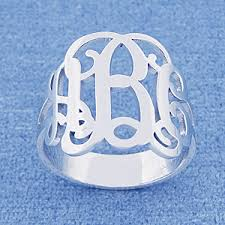 monogram rings silver 3 initial monogram ring sterling silver jewelry sr 31