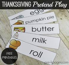 thanksgiving dramatic play printables dramatic play