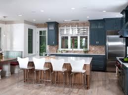 modern kitchen banquette glass backsplash bold colors blue tile austin kitchen modern dark