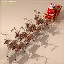 santa sleigh and reindeer santa in sleigh with reindeer 3d model buy santa in