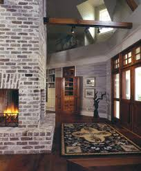 Ceiling Light Crown Molding by Faux Brick Panels Entry Farmhouse With Brick Fireplace Ceiling