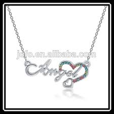 Customized Necklaces Alloy Charm Gold Angel Letter With Heart Chain Necklace Making