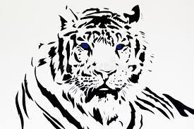 white tiger tribal black silhouette stock illustration