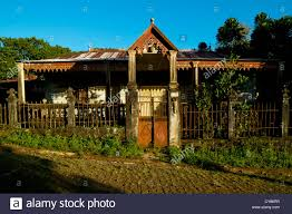 old french colonial house joffreville city madagascar stock photo