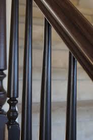 Staining Stair Banister Rails And Spindles Refinished With Black And An American Walnut