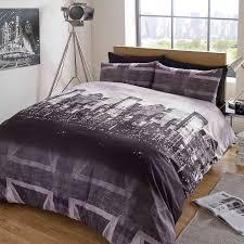 dreamscene union jack duvet cover with pillow case london bedding set black grey