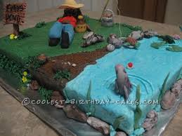 cool homemade fishing cake for my boss fishing cakes birthday