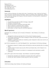 resume of manager operations professional clubhouse manager templates to showcase your talent