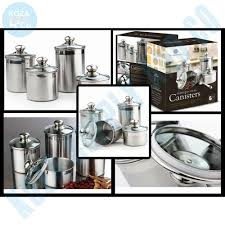 4 piece stainless steel canister set with scoop glass lids kitchen