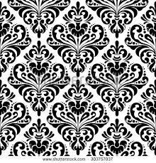 black white seamless damask wallpaper pattern stock illustration