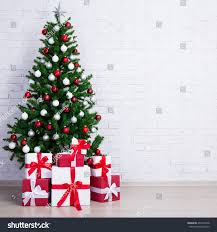christmas tree colorful balls gift boxes stock photo 490132948