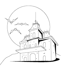 haunted house printable halloween coloring pages free hallowen