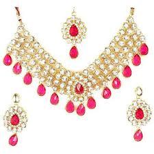necklace with pink stone images Buy wedding 4 line dark pink stone necklace set online get 50 off jpg