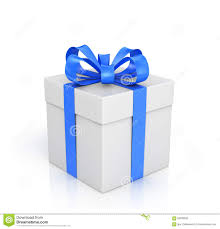 white and blue ribbon the white box wrapped with blue ribbon with stock photo image