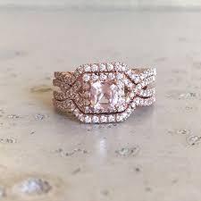 bridal set wedding rings deco morganite engagement ring set morganite engagement ring