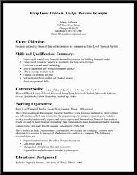 Information Analyst Resume Objective Financial Analyst Resume Objective