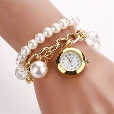 bracelet watches ebay images Super cute women artificial pearl rhinestone fashion watch quartz jpg