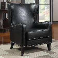 Black Leather Accent Chair Black Tweetalk
