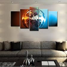 Home Decor Wall Paintings 5 Panel Cartoon Naruto Uchiha Sasuke Ice And Fire Modern Home Wall