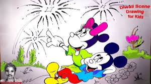 diwali scene drawing for kids mickey mouse draw 3d trick